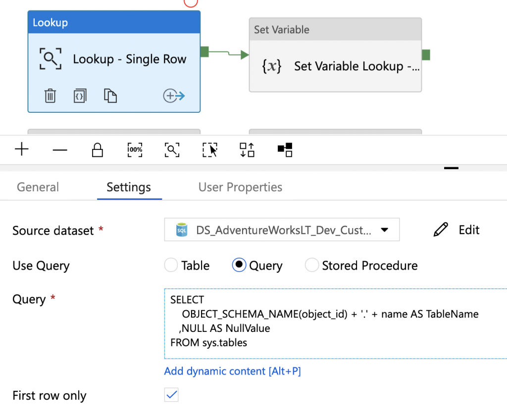 Azure Data Factory Lookup: First Row Only & Empty Result